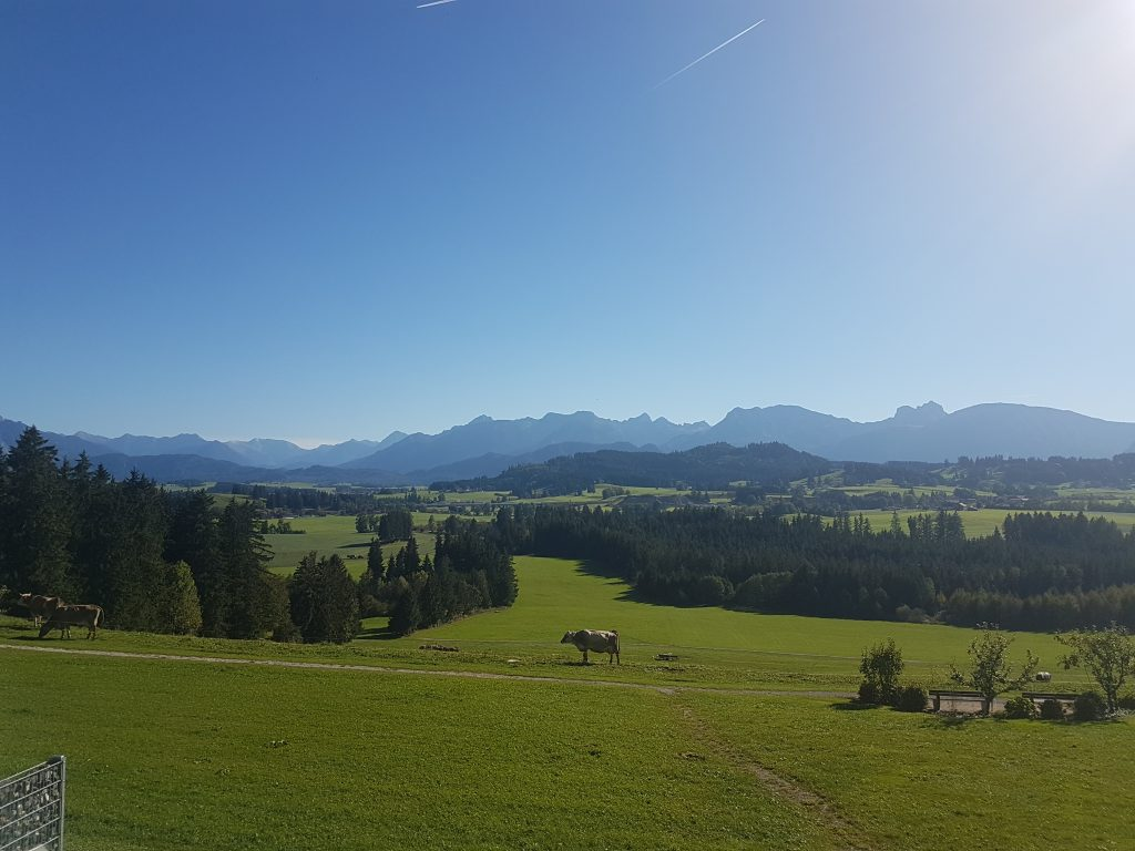 Panorama in den grünen Hügeln des Allgäus