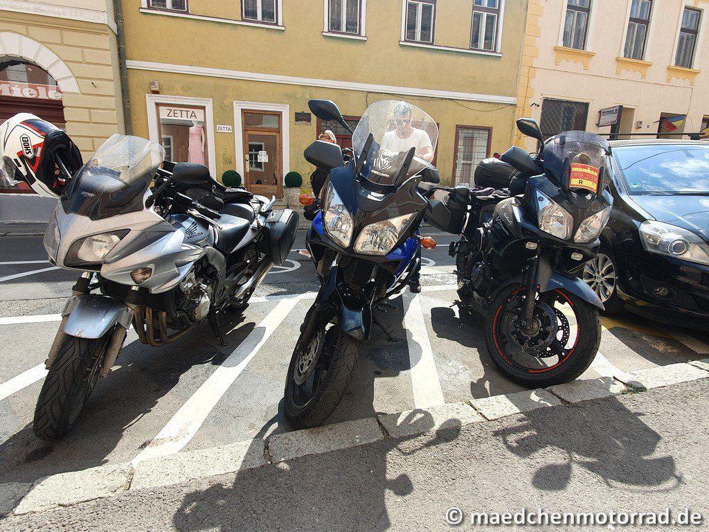 V-Stromtreffen in Sibiu, kostenfreie Motorradparkplätze